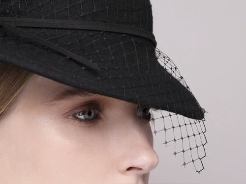 fashionable hat, cocktail hat, black hat