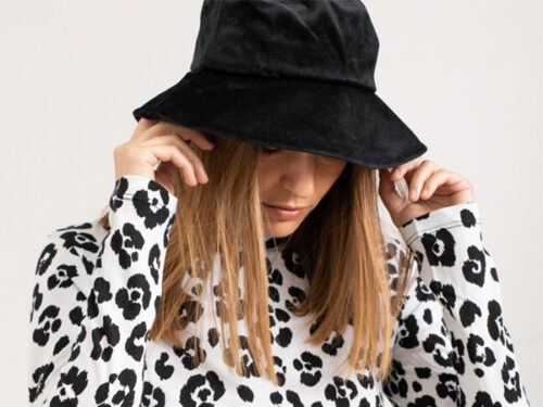 black velvet bucket hat