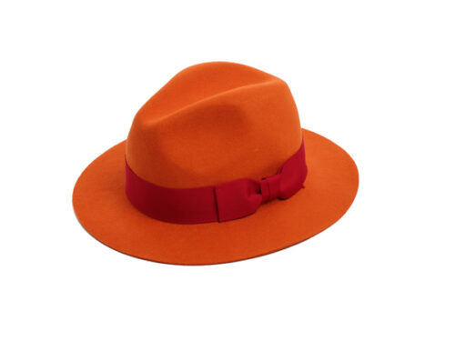 orange felt fedora hat