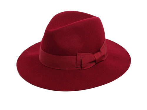 red fedora felt hat
