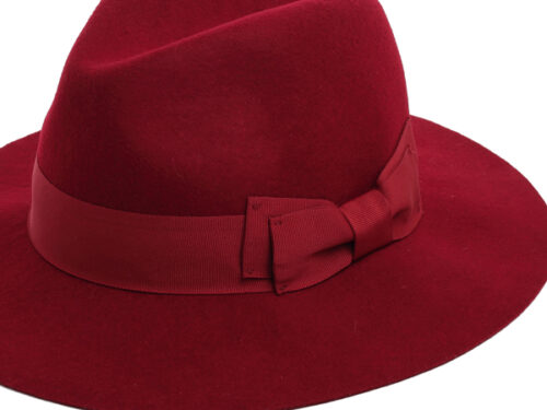 womens red felt fedora hat